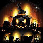 Free Vector glowing spooky pumpkin halloween wallp by cgvector