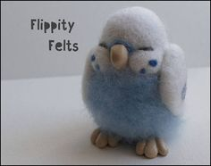 Adorable hand crafted needle felt sleeping blue budgie in