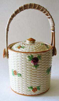 Vintage Small Ceramic Jar w/Lid Flowers by ElizabethJaneCottage