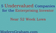 5 Companies for Enterprising Investors Near 52 Week Lows - January 2017  There are a number of great companies in the market today. By using the ModernGraham Valuation Model, I've selected the five undervalued companies reviewed by ModernGraham trading closest to their 52 week low. Each of these companies has been determined to be suitable for the Enterprising Investor according to the ModernGraham approach.