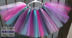 Rockstar Zebra Lined Tutu Skirt with Aqua Bubble Gum Pink, Hot Pink, Black, Plum, and Purple Tulle, girl, infant, toddler, baby, tutu, skirt, birthday, shower, party, Monster High, Shopkins, Mud Puddles and Polka Dots
