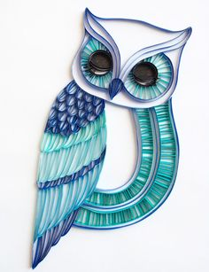 The Sleepy Owl - Unique Paper Quilled Wall Art for Home Decor (paper quilling…