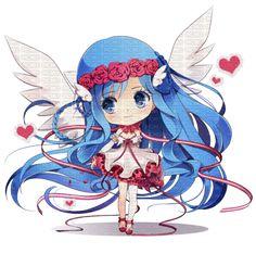 Chibi ange et coeur