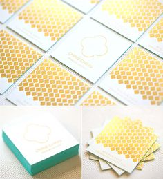 Luxurious Gold Foil Stamped Edge Painted Business Card For A Jeweller