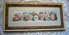 c1890 Roses Yard Long Print Annie Nowell Chromolithograph Antique Victorian Prang Fancy Rose Frame New Arrival at Victorian Rose Prints on rubylane.com
