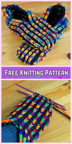 Knit Brioche Stitch Uberib Slippers Free Knitting Pattern – Video - That's It Beginner Knitting Patterns, Knitting Kits, Loom Knitting, Knitting Socks, Knit Patterns, Free Knitting, Knit Slippers Free Pattern, Knitted Slippers, Crochet Slippers