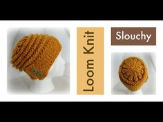 LOOM KNITTING Slouchy Hat with Flap-Over Brim - YouTube