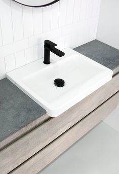 Integrity Semi-Recessed Basin | Architectural Designer Products   Solid Surface matte white basin on Rugged Concrete Caesarstone benchtop with Matte Black tapware, white tiles Semi Recessed Basin, Inset Basin, Concrete Bathroom, Sink Design, Guest Bathrooms, Basins, White Tiles, Solid Surface, Integrity