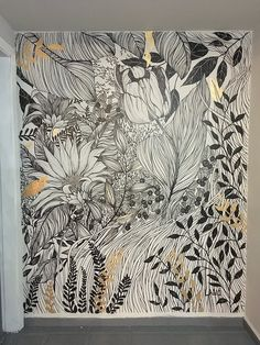 Jardim Dourado | lano Wall Painting Decor, Mural Wall Art, Wall Decor, Mural Floral, Flower Mural, Roman Clock, Hand Painted Wallpaper, Metal Clock, Wall Drawing