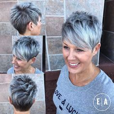 Spiky Gray Balayage Pixie For Women Over 50 - Kurzhaarfrisuren Grey Balayage, Hair Color Balayage, Hair Highlights, Short Pixie Haircuts, Short Hairstyles For Women, Grey Haircuts, Classy Hairstyles, Hairstyles 2018, Haircut Short