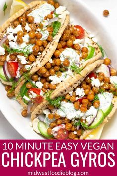 Easy Vegetarian Chickpea Gyros - - This quick vegetarian dinner takes just 10 minutes to cook on your stove top and only a few minutes to prep. That means you can walk in the door and be sitting at the table eating dinner within 15 minutes! Quick Vegetarian Dinner, Tasty Vegetarian Recipes, Chickpea Recipes, Vegetarian Recipes Dinner, Vegan Dinners, Healthy Vegetarian Dinner Recipes, Vegetarian Italian, Dinner Healthy, Veggie Recipes For One