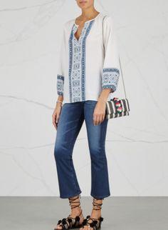 ec9e8b5d84fdfd Joie Varinia Silk Boho Mosaic Tile Print Long Sleeve White V-Neck Blouse Top