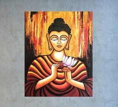 Buddha painting by Nikki Chauhan Dimensions in Inches: 24(L) x 30(H) x 1.5(W) Materials: Acrylic paint, Mediums, Varnish Painting will be double coated with varnish for protection against UV and dust and will come in ready to hang condition. The artwork is signed and dated on the Budha Painting, Mural Painting, Coffee Painting Canvas, Buddha Drawing, Buddha Wall Art, Oil Pastel Art, Indian Folk Art, Indian Art Paintings, Zen Art