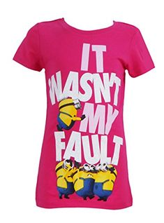 """Despicable Me Youth Girls Fitted Minion """"It Wasn't My Fault"""" Tee Large Pink Minion Shirts, Casual Coats For Women, My Fault, Minions Quotes, My Youth, Despicable Me, Fitness, Girls, Nerd Geek"""