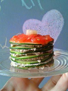 Calabacín ,requesón y tomate.