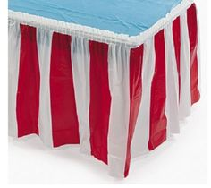 Prepare your table for different circus activities with this Red & White Striped Table Skirt. Perfect for festivals and birthday parties.