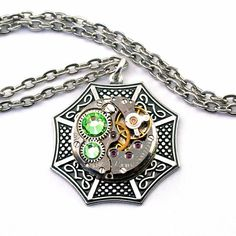 Steampunk Necklace - Beautiful Celtic & Vintage Clockwork Design - Light Peridot Green Swarovski Crystals PROMPTLY SHIPPED Steampunk Jewelry