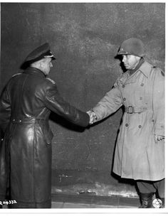 1945: Scenes of army life during #WW2. A US General shaking hands with a German General. #NCMuseumofHistory #historyphotography