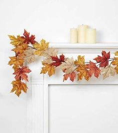 Blooming Autumn 66'' Maple Leaf Garland-Rust, Orange & Brown