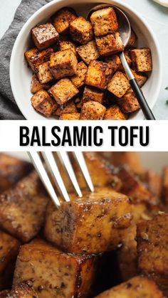 I love using this balsamic tofu in sandwiches, salads, and pastas! The marinade is so easy and it only takes 5 minutes to cook! #easy #tofu #vegan #vegetarian