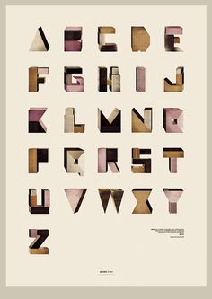 """""""Abcity typo is a formal typographic construction based in the superposition of cubes and buildings as illustrative elements."""" - Borja Bonaque"""