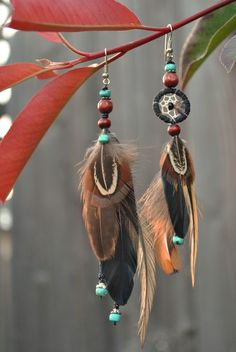 Pheasant and Turquoise Pheasant, Diy Earrings, Crochet Projects, Dream Catcher, Turquoise, Clothes, Etsy, Jewelry, Fashion
