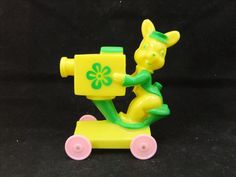 Vintage Rosbro Plastic Easter Toy Bunny w TV Camera on Wheels Green Yellow | eBay