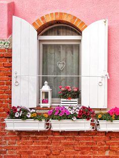 Garden Windows, Garden Doors, Window Box Flowers, Window Boxes, Knobs And Knockers, Shutter Doors, Window Shutters, Window View, Pink Houses
