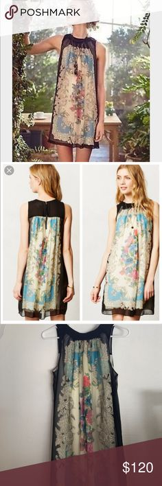 Anthropologie Moulinette Soeurs Dress Flora Vignette Silk Dress. Size 4. Like new condition. Worn once. Anthropologie Dresses
