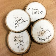 Simple Country – Coaster Set – In-house Factory Wood Slice Crafts, Wood Burning Crafts, Wood Burning Patterns, Wood Burning Art, Wooden Crafts, Wooden Diy, Coaster Crafts, Diy Coasters, Wooden Coasters