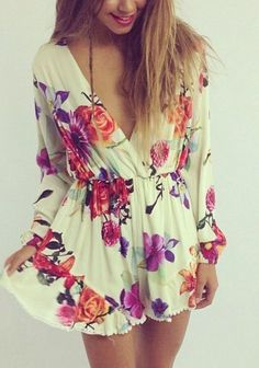 Love, Love, Love this!!!  Gorgeous Floral Printed Long sleeve Jumpsuit