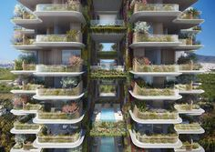 """Marina Tower will be covered with greenery, which the studio claims will also make it """"the first green high-rise building"""" in the country. Tower Building, High Rise Building, Wooden Skyscraper, The Fosters, Foster Partners, Urban Fabric, Sustainable Design, Innovation Design, Athens"""