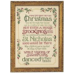 """BELOVED HOLIDAY POEM extolling the Christmas Eve visit of Santa captions Sue Hillis's counted cross stitch. Kit includes 28-count antique white evenweave you stitch over two threads, DMC cotton floss, needle, chart and instructions. 11"""" x 15 1/2"""" without frame."""