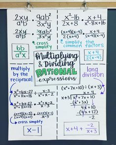 Multiplying & Dividing Rational Expressions for the next 4 school days. We don't need that long - but 2 of the days… Maths Algebra, Calculus, Algebra 2 Help, Algebra Activities, Kids Worksheets, Math Teacher, Math Classroom, Teaching Math, Mind Maps