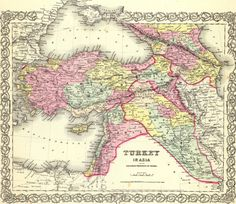 1855 Map of Turkey in Asia and the Caucasian Provinces of Russia