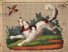 Dog chasing pheasant embroidery design, 19th century