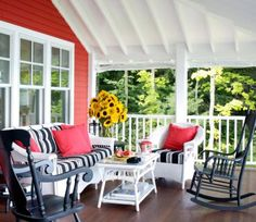 Weather-resistant wicker furniture is just the ticket for comfortable outdoor seating areas that expand your living space and set a cottage mood at your front door.  More beautiful porches: http://www.midwestliving.com/homes/outdoor-living/45-ideas-for-warm-and-welcoming-porches/?page=17