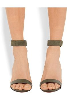 Givenchy - Retra Suede-trimmed Leather Sandals - Army green - IT