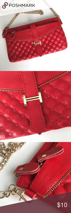 🆕 HESHE Genuine Leather Clutch with Golden Chain NWOT. Small Genuine Leather Cross Body Clutch. Never been used. HESHE Bags Clutches & Wristlets