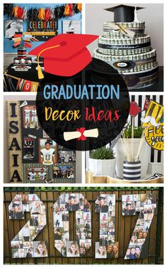 DIY Graduation Decorations and Ideas-Fun centerpieces, banners, and photo memory boards for your graduation party! Informations About Fun DIY Graduation Decorations P Graduation Banner, Graduation Cap Decoration, Graduation Gifts, Graduation Ideas, Graduation Ornament, Graduation Cupcakes, Graduation Photos, College Graduation, Cap Decorations