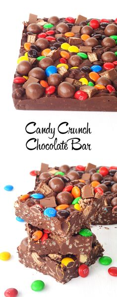 The BEST homemade chocolate bar! Tastes just like Nestle Crunch bar and you can top with all your favourite candy. No bake!