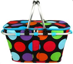 $13.90 Big Multi Dot Collapsible Insulated Market Basket with Lid