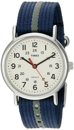 Amazon.com: Timex Unisex T2N654 Weekender Watch with Blue and Gray Nylon Strap: Timex: Watches