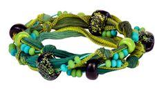 Rain Forest Convertible Silk Ribbon Necklace/Bracelet