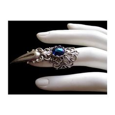 Silver Plated Claw Ring Gothic Goth Gothik Jewel Vampire Witch Finger... ❤ liked on Polyvore featuring jewelry, rings, weapons, dark blue stone jewelry, gothic rings, goth jewelry, cat claw rings and cat ring