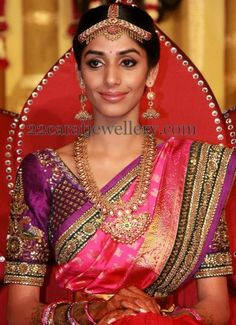 Bride in Rich Mango Mala | Jewellery Designs