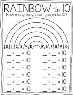 Rainbow to 10 {FREEBIE} Could do something like this on the smart board for number talks Math Strategies, Math Resources, Math Activities, Kindergarten Worksheets, In Kindergarten, First Grade Math Worksheets, Free Math Worksheets, Math For Kids, Fun Math