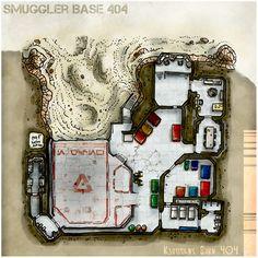 [Map] The Smuggler Base 404 by Miska Carte Star Wars, Space Opera, Sci Fi Games, City Maps, Star Wars Ships, Star Wars Rpg, Cyberpunk, Science Fiction, Base