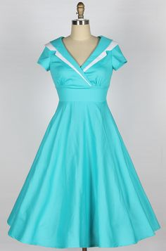 free dress patterns for women | Home :: 1950s Dresses :: 40s 50s wing cotton dress blue 81231