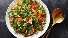 Grilled Stone Fruit Salad - add protein - It's half fruit and cheese plate, half green salad – but this grilled beauty is all flavor! This stellar salad will steal the show at your next potluck barbecue or summer soirée. Nachos, Grill Stone, Grilled Fruit, Grilled Avocado, Dinner With Ground Beef, Stone Fruit, Salad Recipes, Quiche Recipes, Grilled Recipes